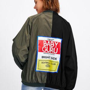 Jackets & Blazers - Two Tone Patch Back Oversized Bomber Jacket